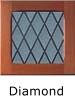 Diamond window insert example, timber finish frame