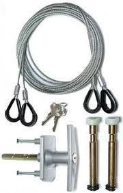 Picture array of typical garage door components including cables, lock, hinges and remote control fob